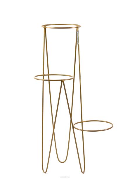 Kwietnik Metalowy Stojak Na Trzy Donice 97cm Złoty Loft 1550
