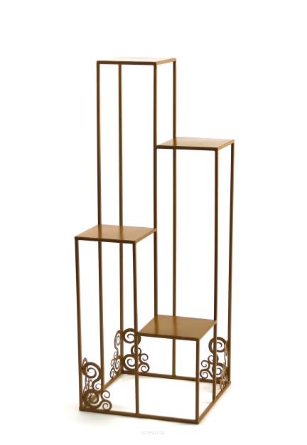 Kwietnik Metalowy Stojak Na Cztery Donice 110cm Złoty Loft 1538