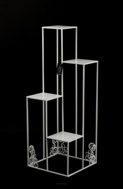 Kwietnik Metalowy Stojak Na Cztery Donice 110cm Biały Loft 1538