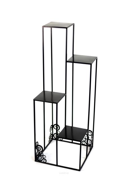 Kwietnik Metalowy Stojak Na Cztery Donice 110cm Czarny Loft 1538